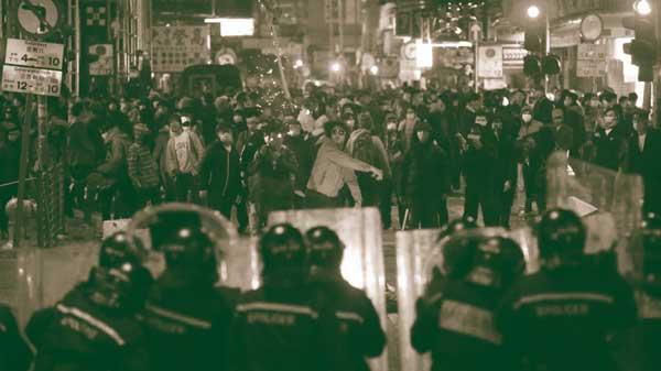 Confronto de trabalhadores com polícia