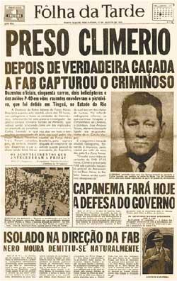 "Manchete de época: ""Preso Climerio""."