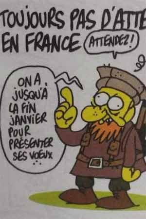 Charge profética de Charb no Charlie Hebdo