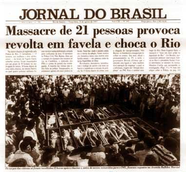 Jornal do Brasil - massacre de Vigário Geral