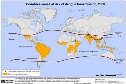 Mapa da distribuição da dengue no mundo, 2006