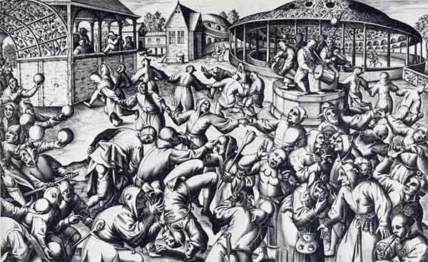 Confusão em praça medieval