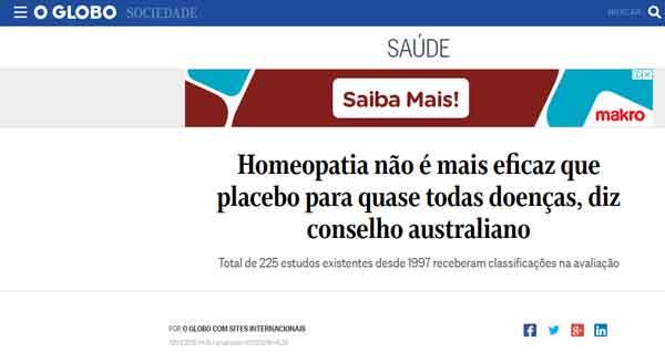 O Globo, matéria sobre homeopatia